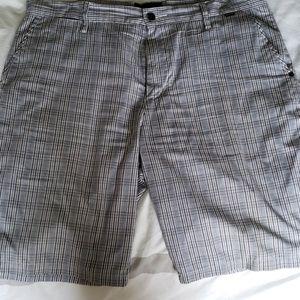 Plaid shorts.